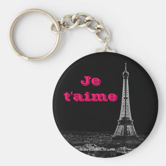 Je t'aime basic round button key ring