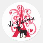 Je t'aime classic round sticker