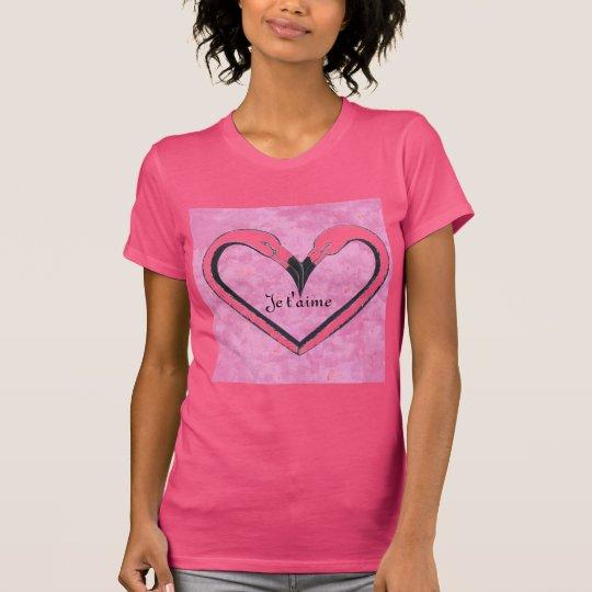 Je t'aime,Flamingo Kiss Heart by SandyCloss T-Shirt