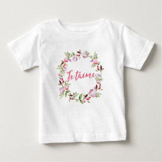 Je taime floral watercolor kids T-shirt