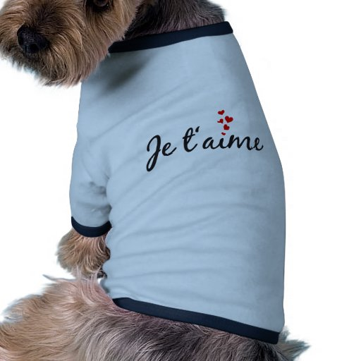Je t'aime, French word art with hearts Dog Tee Shirt