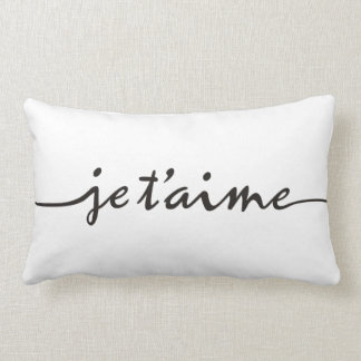 je t'aime - I love you in French - black Lumbar Cushion