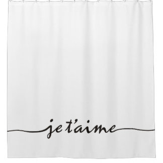 je t'aime - I love you in French - black Shower Curtain