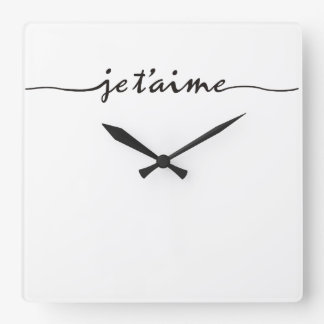 je t'aime - I love you in French - black Wallclock