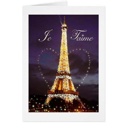 JE T'AIME LOVE FROM PARIS VALENTINE CARDS