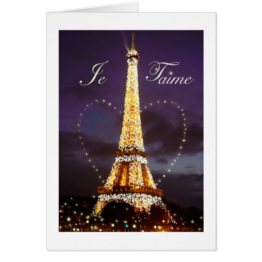 JE T'AIME LOVE FROM PARIS VALENTINE CARD