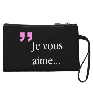 JE VOUS AIME French 2sided Black W Mini Clutch