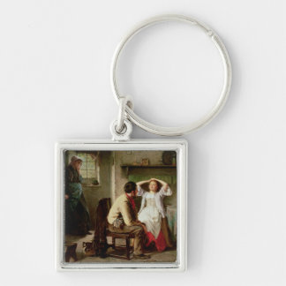 Jealousy and Flirtation Silver-Colored Square Key Ring