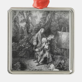 Jean Antoine Watteau and friend Monsieur Silver-Colored Square Decoration