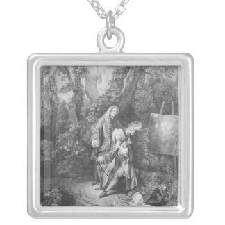 Jean Antoine Watteau and friend Monsieur Silver Plated Necklace