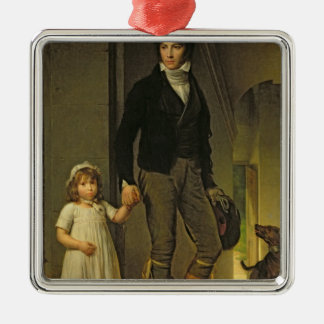 Jean-Baptiste Isabey  and his Daughter Silver-Colored Square Decoration