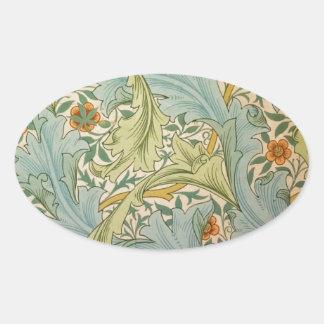 Jean-Baptiste Réveillon Style Antique Wallpaper Oval Sticker
