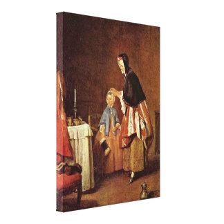 Jean-Baptiste-Simeon Chardin - The morning toilet Canvas Print
