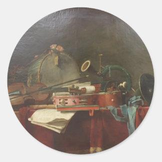 Jean-Baptiste - The instruments of music calendar Round Sticker