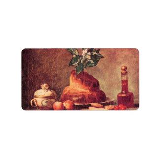 Jean Chardin - Still Life with Brioche Address Label