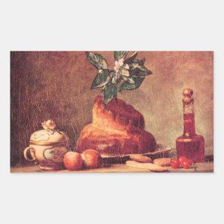 Jean Chardin - Still Life with Brioche Rectangular Sticker