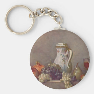 Jean Chardin- Still life with porcelain teapot Basic Round Button Key Ring