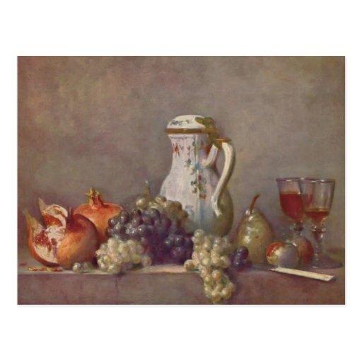 Jean Chardin- Still life with porcelain teapot Post Card