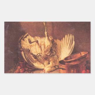 Jean Chardin - Still Life with turkey Rectangular Stickers