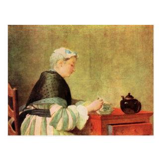 Jean Chardin - Tea Drinker Postcard