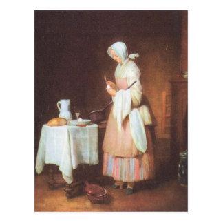 Jean Chardin - The caring maid Postcard