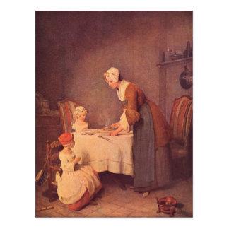 Jean Chardin - The table prayer Postcard