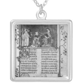 Jean de Joinville offering his book on St. Louis Silver Plated Necklace