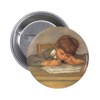 Jean Drawing by Renoir, Vintage Impressionism Art Pinback Button