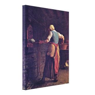 Jean-Francois Millet - Woman baking bread Canvas Print