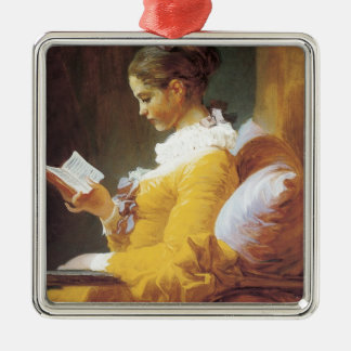 Jean-Honore Fragonard The Reader Silver-Colored Square Decoration