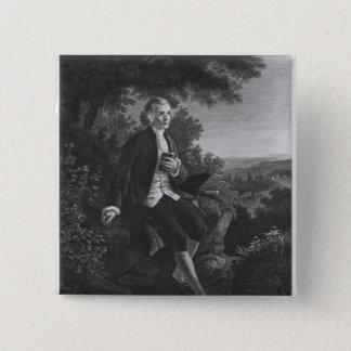 Jean-Jacques Rousseau composing 'Emile' 15 Cm Square Badge