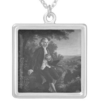 Jean-Jacques Rousseau composing 'Emile' Silver Plated Necklace