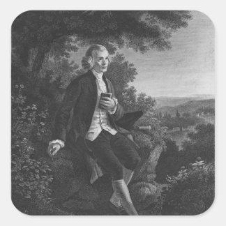 Jean-Jacques Rousseau composing 'Emile' Square Sticker