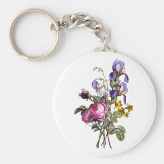 Jean Louis Prevost Cabbage Rose and Iris Bouquet Keychain