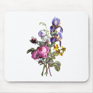 Jean Louis Prevost Cabbage Rose and Iris Bouquet Mouse Pad