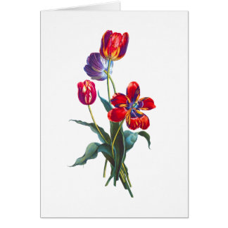 Jean Louis Prevost Red & Blue Tulip Bouquet Greeting Card