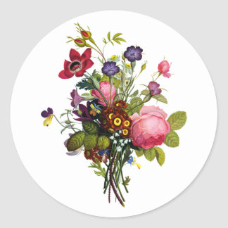Jean Louis Prevost Roses and Pansy Bouquet Classic Round Sticker