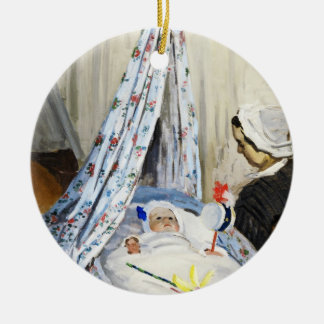 Jean Monet in the Cradle Claude Monet cool, old, Double-Sided Ceramic Round Christmas Ornament