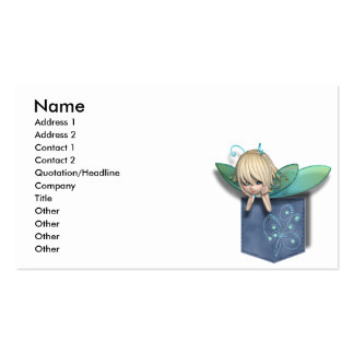 Jean Pocket Blue Green Fairy Business Card Template