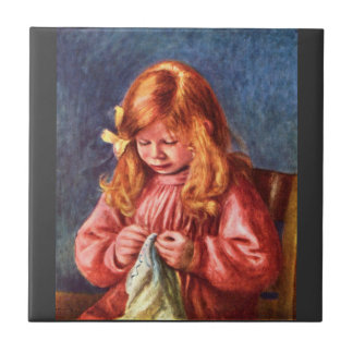 Jean Renoir sewing by Pierre Renoir Small Square Tile