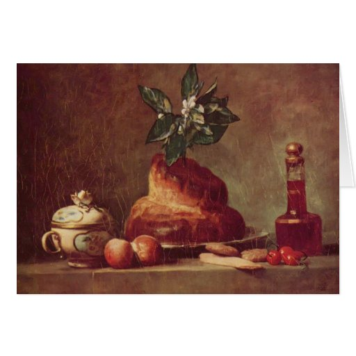 Jean-Simeon Chardin- Still life with Brioche Greeting Cards