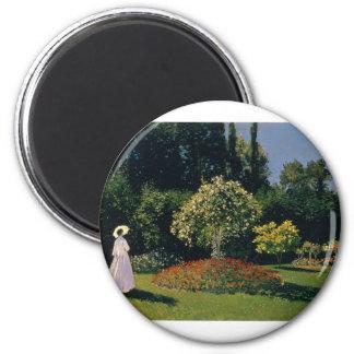 Jeanne-Marguerite Lecadre in the Garden (1866) 6 Cm Round Magnet