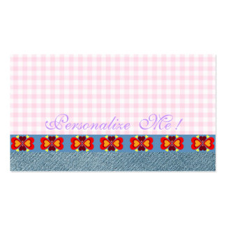 Jeans Denim Hearts Cute Girly Modern Monogram Pink Pack Of Standard Business Cards