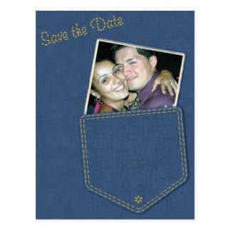 Jeans Pocket Denim Save the Date Postcard