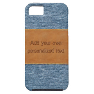 Jeans Texture With Leather Tag iPhone 5 Cases