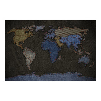 Jeans World Map (No labels) Poster
