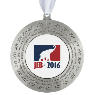 Jeb 2016 Pro GOP Candidate Design Round Pewter Christmas Ornament