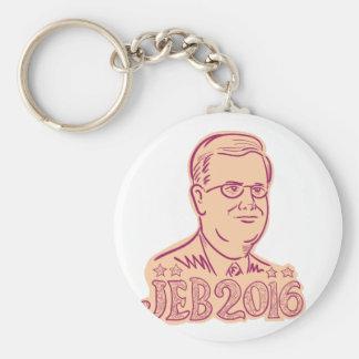Jeb Bush 2016 President Cartoon Basic Round Button Key Ring