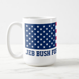 Jeb Bush for President 2016 American Flag Basic White Mug