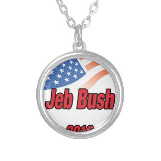 Jeb Bush for president on 2016 Round Pendant Necklace